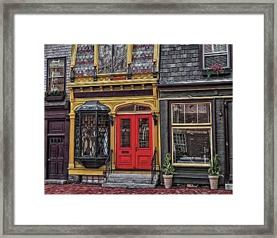 Red Door On Belvue Framed Print by Boyd Alexander