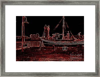 Red Electric Neon Boat On Sc Wharf Framed Print by Garnett  Jaeger