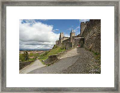 Red Jacket In Carcassonne Framed Print by Robert Lacy