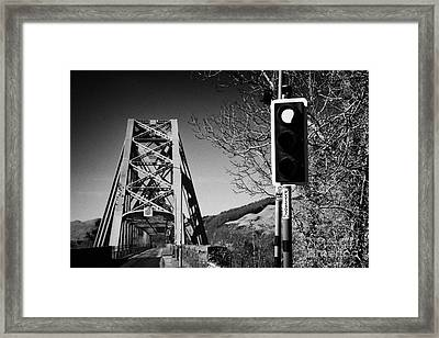 Red Light Traffic Control At The Single Track Connel Bridge On The A828 Coastal Route Road Over Loch Framed Print by Joe Fox