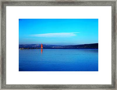 Red Lighthouse In Cayuga Lake New York Framed Print by Paul Ge