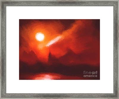 Red Mountains Framed Print by Pixel Chimp