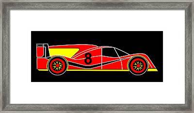 Red Number 8 Racing Car Virtual Car Framed Print by Asbjorn Lonvig
