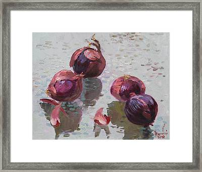Red Onions Framed Print by Ylli Haruni