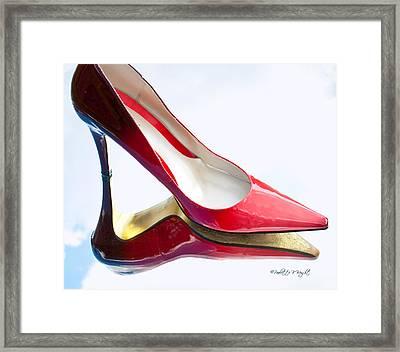 Red Patent Stilettos Framed Print by Paulette B Wright