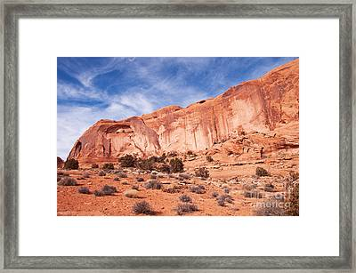 Red Rock And Blue Skies Framed Print by Bob and Nancy Kendrick
