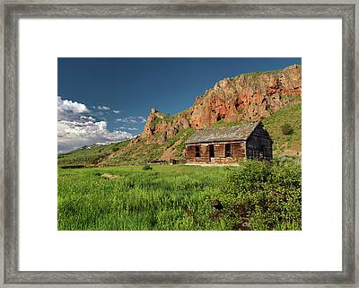 Red Rock Cabin Framed Print by Leland D Howard