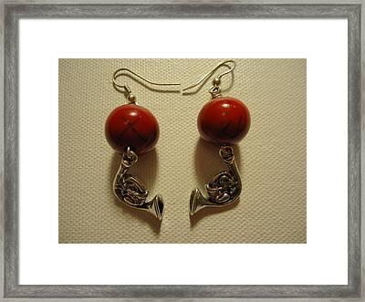 Red Rocker French Horn Earrings Framed Print by Jenna Green
