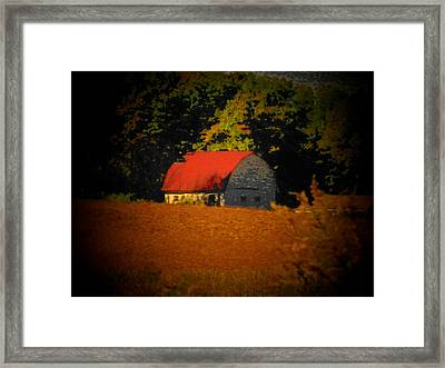 Red Roof Barn Framed Print by Joyce Kimble Smith