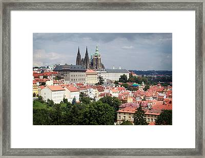 Red Rooftops Of Prague Framed Print by Linda Woods