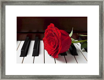 Red Rose On Piano Framed Print by Garry Gay
