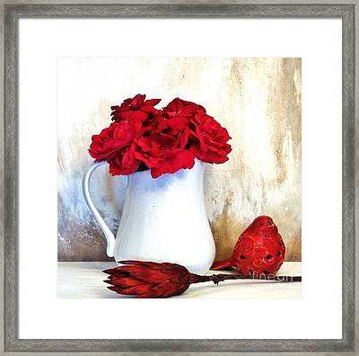Red Roses Red Rover Framed Print by Marsha Heiken