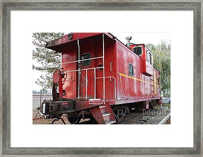 Red Sante Fe Caboose Train . 7d10330 Framed Print by Wingsdomain Art and Photography