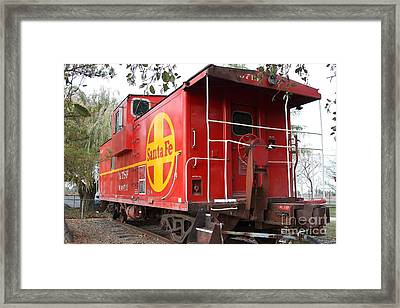 Red Sante Fe Caboose Train . 7d10332 Framed Print by Wingsdomain Art and Photography