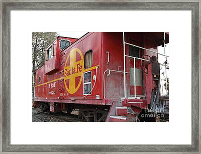 Red Sante Fe Caboose Train . 7d10334 Framed Print by Wingsdomain Art and Photography