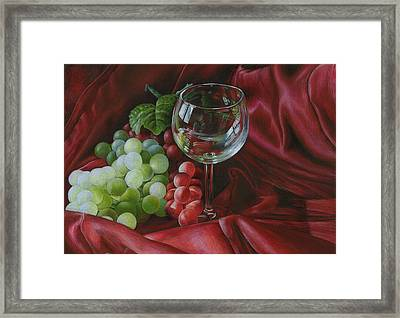 Red Satin And Grapes Framed Print by Carla Kurt