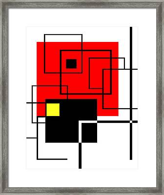 Red Square A La Mondrian Framed Print by Ginny Schmidt