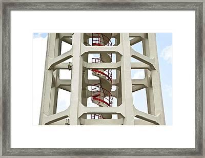 Red Stairway Framed Print by Gerard Hermand