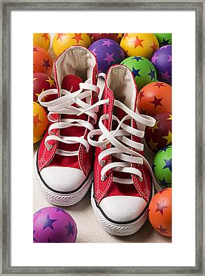 Red Tennis Shoes And Balls Framed Print by Garry Gay