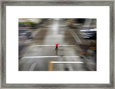 Red Umbrella Framed Print by Glennis Siverson