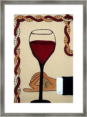 Red Wine Glass Framed Print by Cynthia Amaral