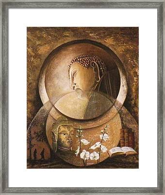 Reflexion Bouddhiste Framed Print by Frank Godille