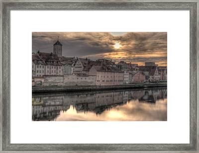 Regensburg Cityscape Framed Print by Anthony Citro