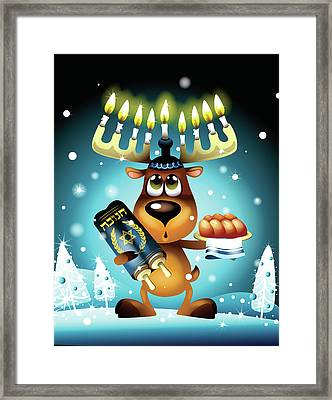 Reindeer With Menorah For Antlers Framed Print by New Vision Technologies Inc