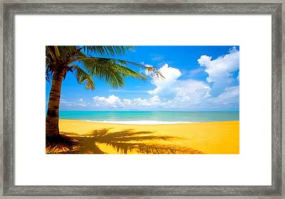 Relaxing On The Beach Framed Print by Robert Anderson