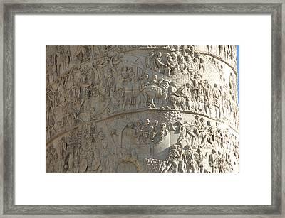 Relief. Detail View Of The Trajan Column. Rome Framed Print by Bernard Jaubert