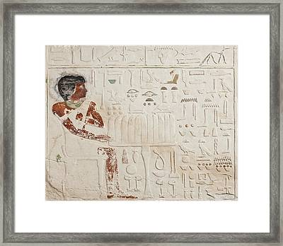 Relief Of Ka-aper With Offerings - Old Kingdom Framed Print by Egyptian fourth Dynasty