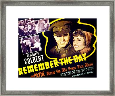 Remember The Day, Claudette Colbert Framed Print by Everett