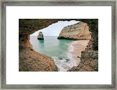 Remote Beach In Lagoa, Portugal Framed Print by © Allard Schager