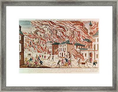 Representation Of The Terrible Fire Of New York Framed Print by French School