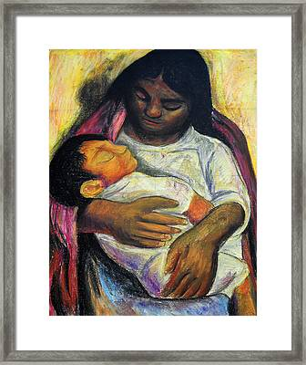 Reproduction Of Diego Rivera's- Mother And Child Framed Print by Duwayne Washington