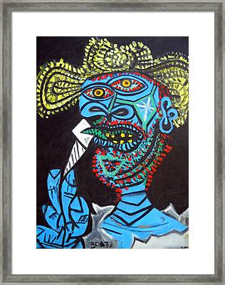 Reproduction Of Picasso's - Man With Straw Hat Framed Print by Duwayne Washington