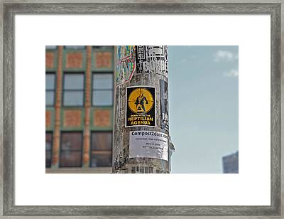 Reptilian Agenda Framed Print by Jerry Patterson