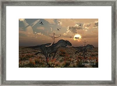 Reptoids Race Allosaurus Dinosaurs Framed Print by Mark Stevenson
