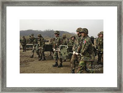 Republic Of Korea Soldiers And U.s Framed Print by Stocktrek Images