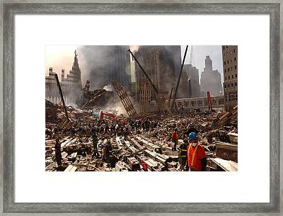 Rescue Workers And Firefighters Framed Print by Everett