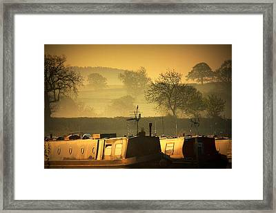 Resting Narrowboats Framed Print by Linsey Williams