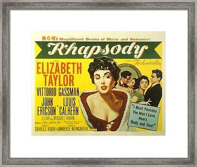 Rhapsody, Elizabeth Taylor, 1954 Framed Print by Everett