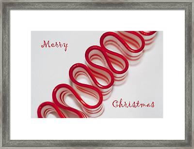 Ribbon Candy Peppermint Merry Christmas Framed Print by Kathy Clark