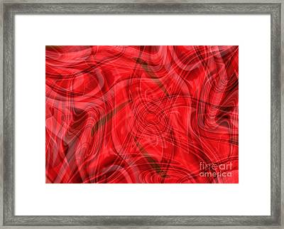 Ribbons Of Red Abstract Framed Print by Carol Groenen