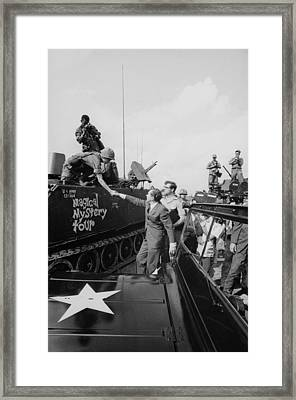 Richard Nixon Shaking Hands With Armed Framed Print by Everett
