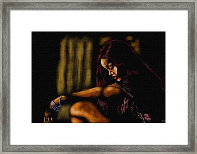 Rihanna Framed Print by Anthony Crudup