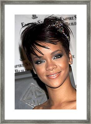 Rihanna Wearing A Cartier Tiara Framed Print by Everett