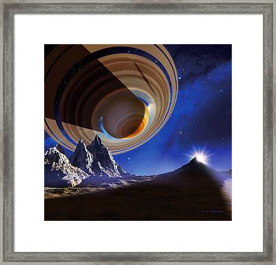 Ringed Planet Framed Print by Detlev Van Ravenswaay