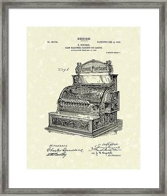 Ringold Cash Register 1904 Patent Art Framed Print by Prior Art Design