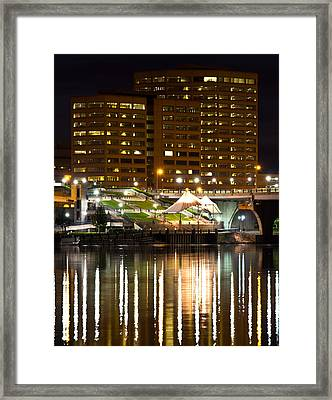 River Front At Night Framed Print by Frank Pietlock